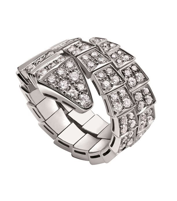 80a57cae06911 Bvlgari White Gold and Diamond Serpenti Ring available to buy at  Harrods.Shop for her online and earn Rewards points.