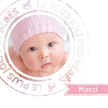 Macaron et banderole rose pour la naissance de la plus jolie des petites filles.  Modèle de carte de remerciements à personnaliser avec vos photos en quelques clics, c'est par ici : http://www.lips.fr/impression/carte-remerciement-naissance/format-130-x-130-2p-modele.html?modele_id=342