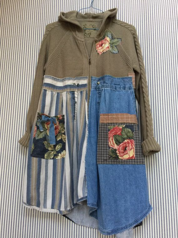 Upcycled Zip Front Hoodie Sweater with Denim Patchwork, big Appliqué Front Pockets , all Cotton Warm and Cozy, Size XL Measured laying flat- 19 across bust area 38-40 bust 36-39 asymmetrical Hemline