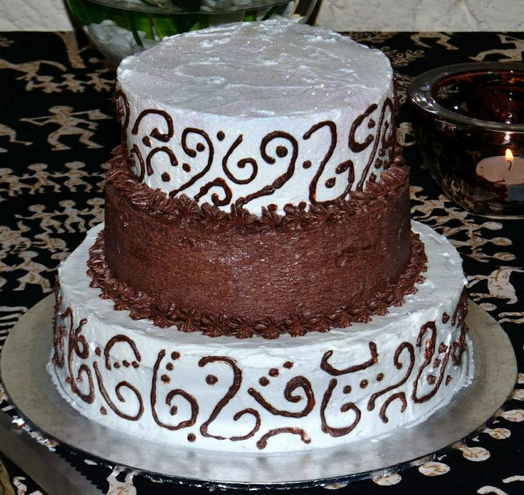 Brown and white tier cake
