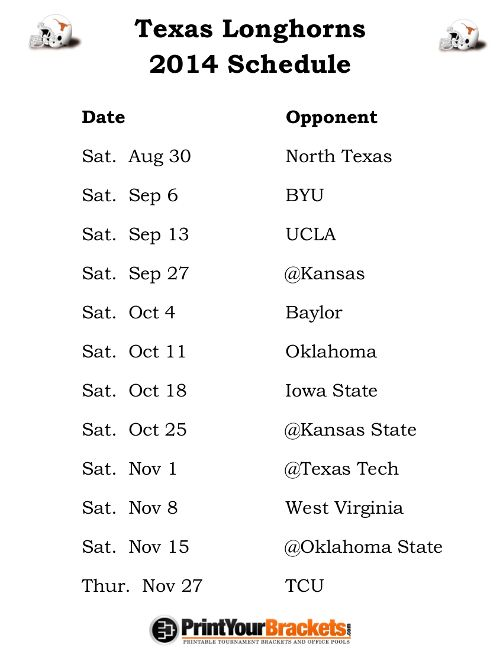 Printable Texas Longhorns Football Schedule 2014