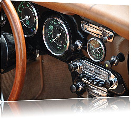 Vintage car painting on canvas, XXL Pictures completely framed with large wedge frames, wall picture art print with frame, cheaper than painting or picture, no posters or poster, Leinwand Format:120x80 cm