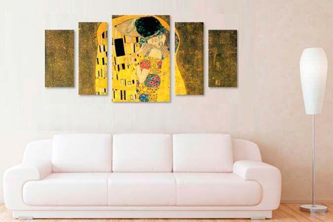 Sarutul Klimt 36651- Tablouri canvas 5 piese- etablou.ro