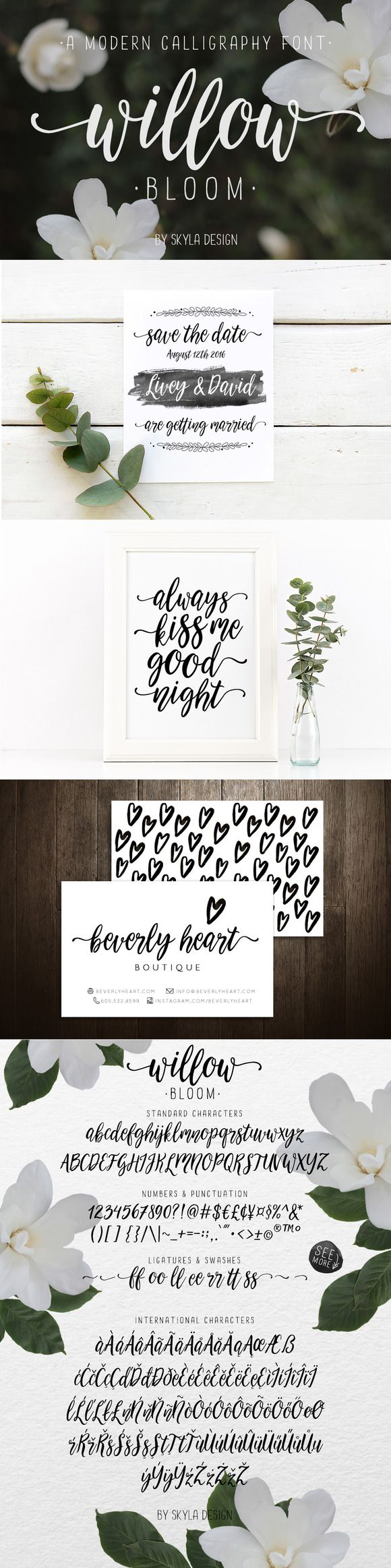 Calligraphy font - Willow Bloom by skyladesign on @creativemarket
