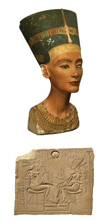 A bust of  Queen  Nefertiti  ca. 1350 B.C. (top).  The queen,  her husband Akhenaten, and their daughters are portrayed (above) on a stone relief.