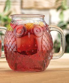 These owl mugs put a vintage spin on lemonade or cocktails. Details: - Sold individually - Holds 16 oz. - Glass - Hand Wash - Imported