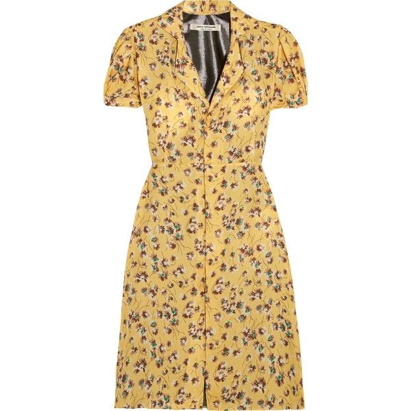 JUNYA WATANABE COMME des GARÇONS   Floral-print chiffon and lamé dress ($405) ❤ liked on Polyvore featuring dresses, beige chiffon dress, colorful dresses, multi coloured dress, chiffon dress and colorful floral dress