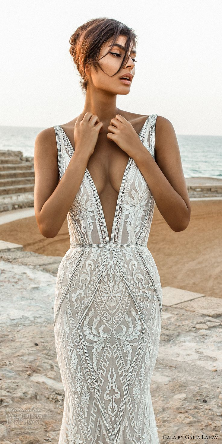 Glia Lahav Gala 2017 bridal sleeveless deep plunging v neck full embellishment elegant sexy lace fit and flare sheath wedding dress open low back chapel train (802) zv #wedding #bridal