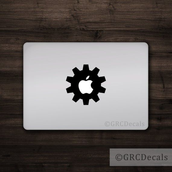 Gear – Mac Apple Logo Cover Laptop Vinyl Decal Sticker Macbook Unique Engine Engineer Science Techno