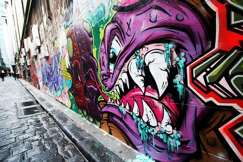 graffiti street art in the laneways. just another thing i love about Melbourne