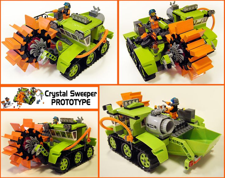 https://flic.kr/p/eYi2Xw | Crystal-Sweeper-Proto | The second prototype loop of the Power Miners Crystal Sweeper. (The first was by MisterZumbi.) I was very much inspired by real mining vehicles, hence the offset cab which was below the height of the cutting/sweeping tool. This build was inherently unstable - both the offset cab which was weak when the model was pushed and the brick built wheel the parts of which often ended up in the rear bucket!