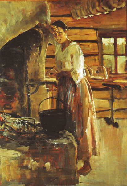 AKSELI GALLEN-KALLELA  Woman Cooking Vendace (1886)