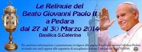 Reliquie von Papst Johannes Paul II in Pedara auf Sizilien http://www.sizilien-etna.de/