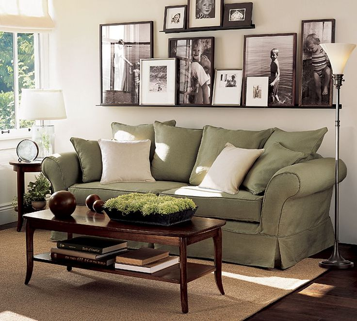 Love the gallery shelf: Ideas, Living Rooms, Green Couch, Photo Display, Frames, Shelves, Photo Wall, Pictures, House