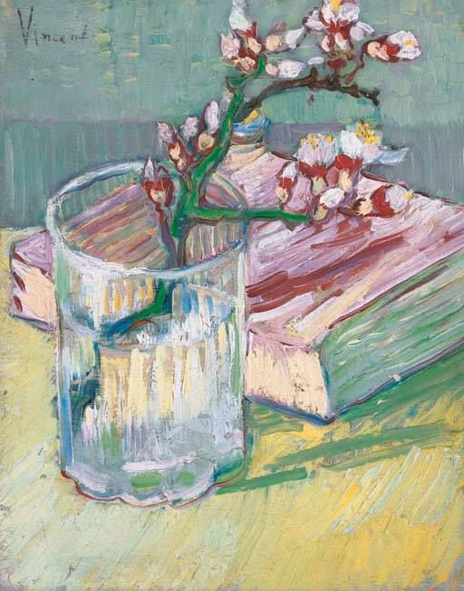 Art of the Day: Van Gogh, Almond Blossom in a Glass with a Book, March 1888. Oil on canvas, 24 x 19 cm. Private collection.  Vincent gave this painting as a birthday present to youngest sister, Willemien, who turned 26 on March 16, 1888. In 2003, a private collector bought the work for $4,375,500.