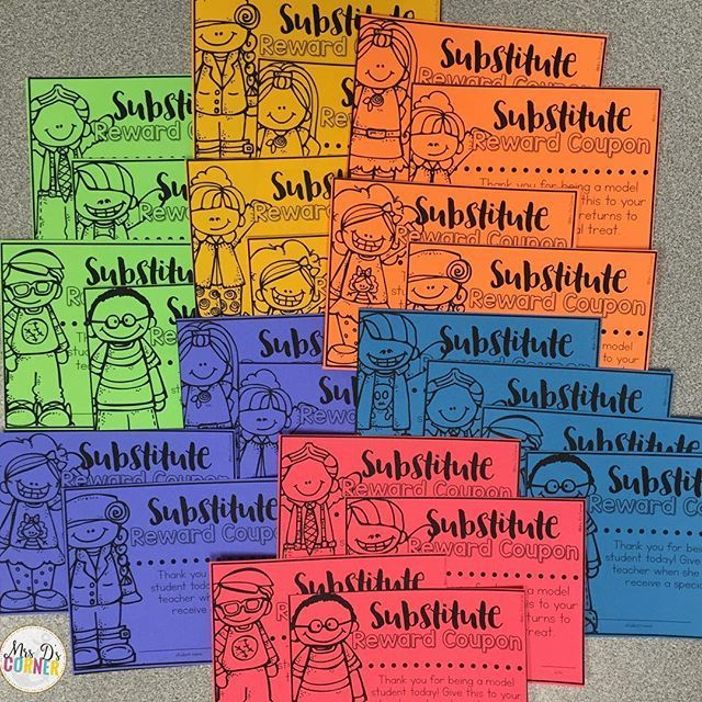 Substitute reward coupons for the sub to give to the kids. FREE. New FREE resource on my blog! (http://MrsDsCorner.com > Freebie tab at the top!)