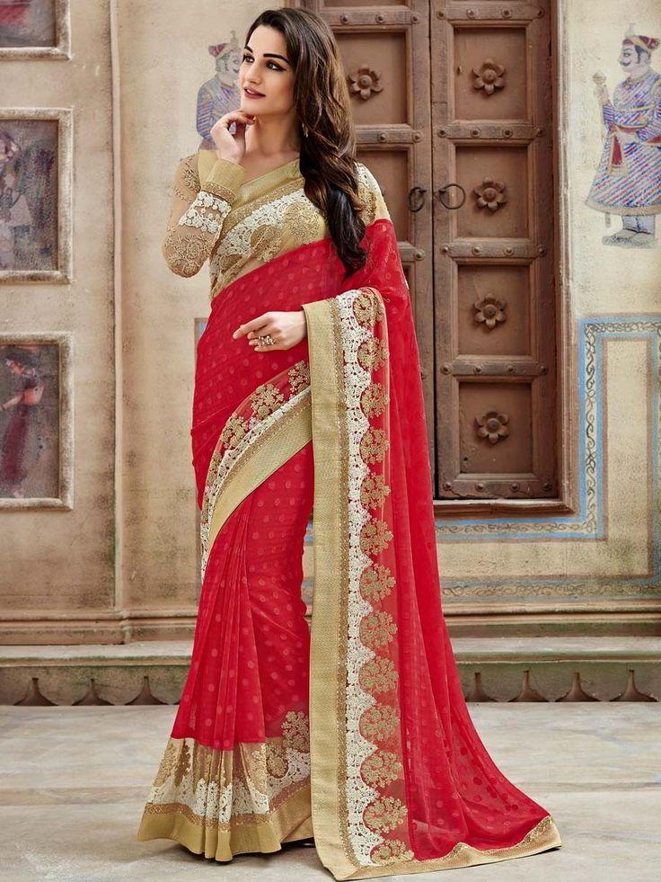 Красное с бежевым красивое индийское сари из брассо, украшенное вышивкой скрученной шёлковой нитью с люрексом