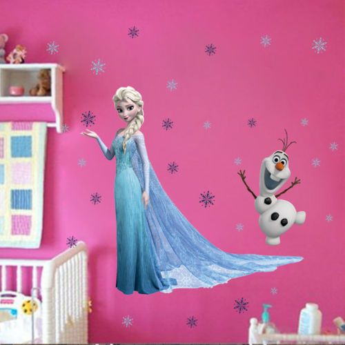 Elsa Snowflaks Olaf Wall Sticker Decals for Kids Child Nursery Mural CAXY