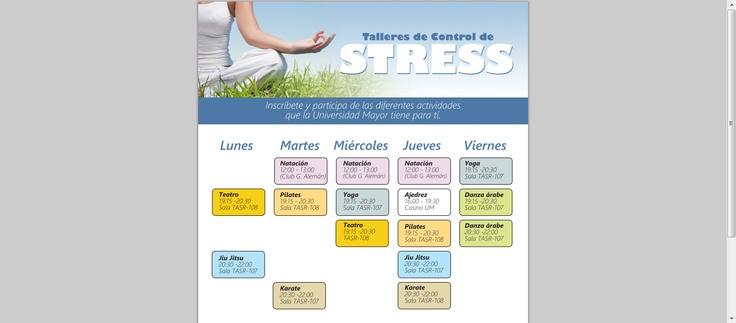 Talleres en #Temuco. www.umayor.cl/descargables/documentos-um/abril2013/talleres-stress.pdf  #universidad #umayor #deporte