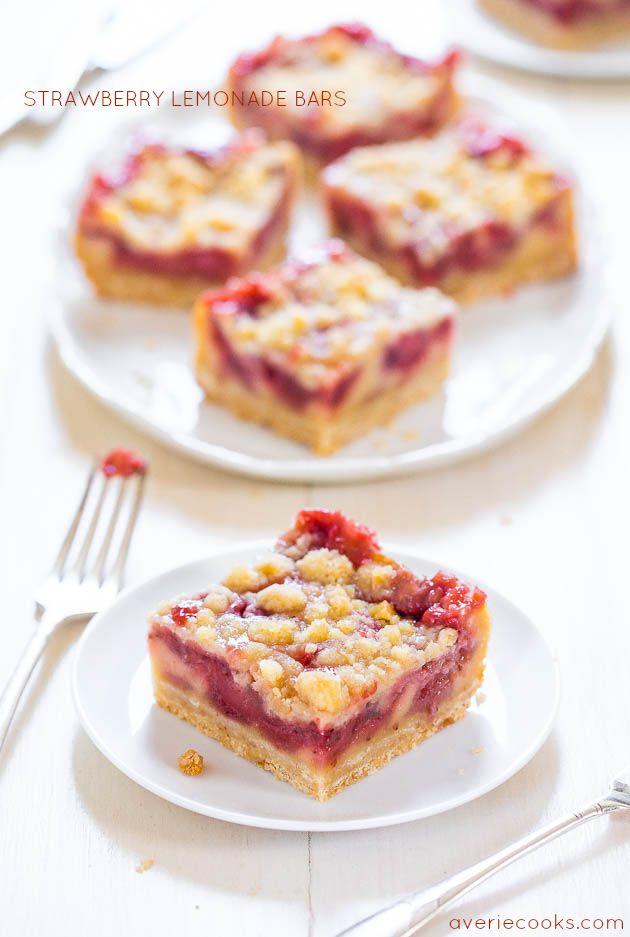 Strawberry Lemonade Bars - Imagine crossing lemon bars with a strawberry pie. These easy bars taste like strawberry lemonade!