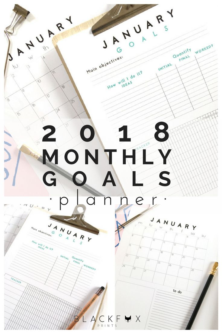 2018 Monthly Goals Planner. Monthly Goal Printable Planner. A4. I am sharing the best tool to achieve your goals, the 2018 Goals Planner. Monthly Goal Planner printable. The Monthly Goals Planner makes you easy to work towards your life goal, it is simple and really motivational. I use it daily and it really has helped me to achieve my objectives and it will help you too.