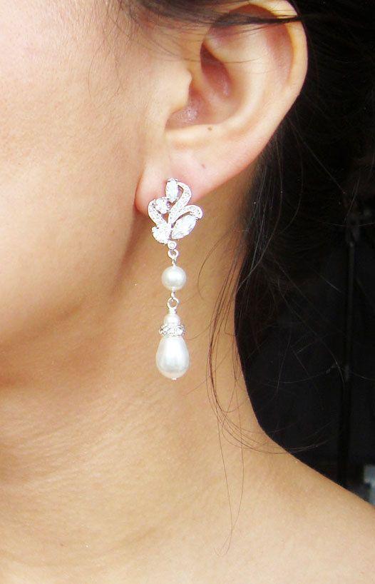 Vintage Inspired Bridal Earrings Silver Filigree by luxedeluxe, $58.00