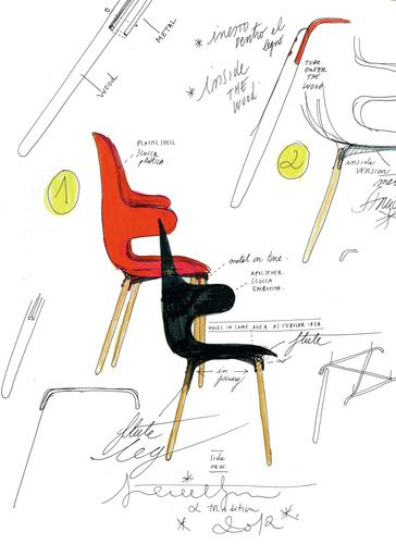 andtradition- beautiful sketch of Catch Chair by Jamie Hayon