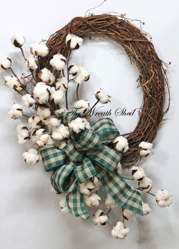 Country Cotton Wreath, Cotton Boll Wreath, Natural Cotton Bolls, 2nd Anniversary Gifts, Southern Decor, Burlap Bow, Country Primitive Decor