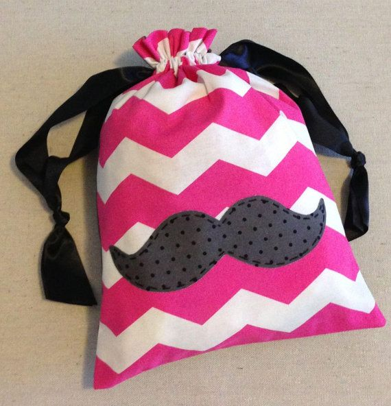 Item(M2) Personalized iPad or Gymnastics Grip Bag Mustache Pink Chevron