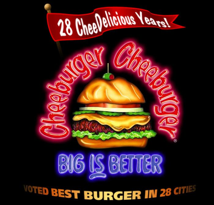 """28 CheeDelicious Years! Cheeburger Cheeburger BIG IS BETTER Voted Best Burger in 28 Cities.Imaginative palates are rewarded when you invent your own """"cheeburgers,"""" fries, shakes, wraps and more.  KIDBIT: How does a burger topped with peanut butter and pineapple, a side of marshmallow fries and a chocolate-covered pretzel shake sound?"""