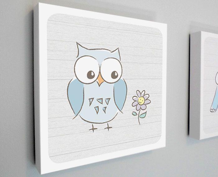 New to HappyHippoArts on Etsy: Nursery Art Canvas Animal Art Baby Decor Baby Owl with Flower Owl Nursery Art Canvas Art Wood Background Modern - 12x12 or 20x20 (74.00 CAD)