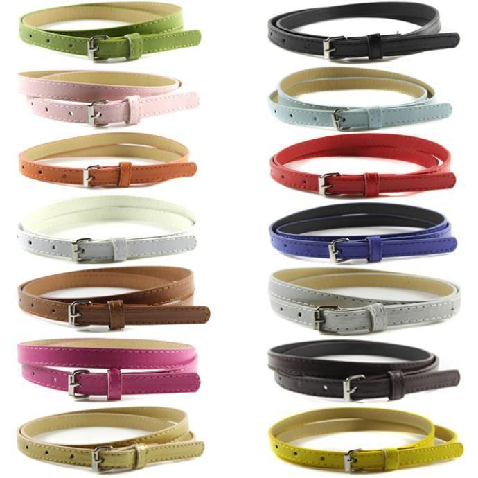 Dolcezza Delle Donne Faux Leather Cinture di Colore Della Caramella Scarna Sottile Cinturino Cintura Regolabile