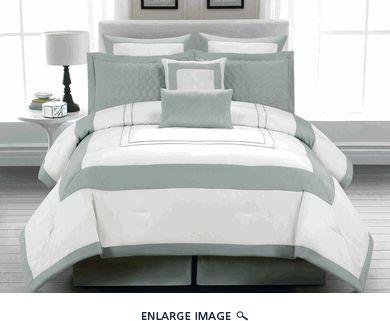 LOVE - 8 Piece Queen Austin Dusk Blue and White Bedding Comforter Set