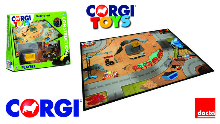 #CORGI. CORGI Toys Construction Play Set. Incluye una alfombra de juego de 73x58 cm., que se puede limpiar fácilmente, así como dos vehículos y un edificio. ¡También se pueden conectar cuatro tapices de juego juntos para crear una enorme zona de juegos!