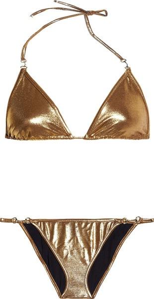 Metallic Triangle Bikini - Lyst