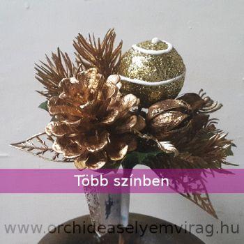 Tobozos mini csokor gömbbel, pick