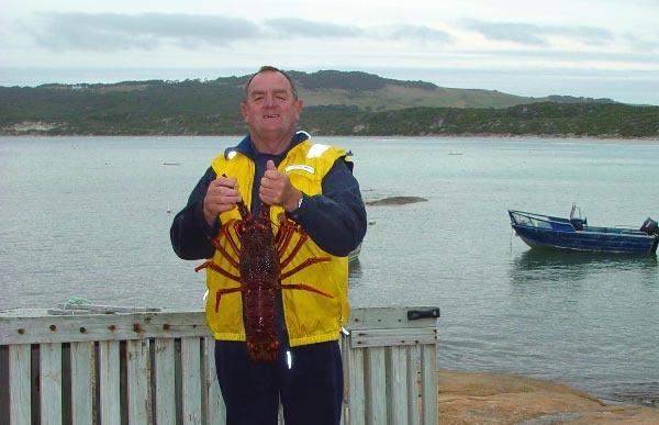 Alan Wheatley doing a spot of fishing, Flinders Island style! Photo by Dan Fellow.