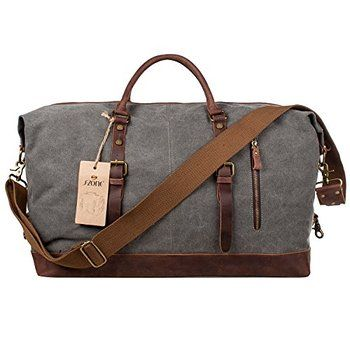 S-ZONE Oversized Canvas Leather Trim Travel Tote Duffel shoulder handbag Weekend Bag