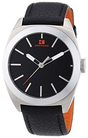 Hugo Boss Orange Herren Uhr Schwarz Lederband 1512855