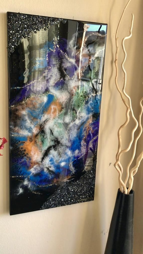 8x10 abstract resin art on cradled wood