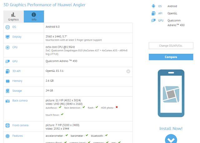 Spesifikasi Huawei Nexus bocor di GFXBench, dibekali layar 5,7 inch qHD dan kamera selfie 8 MP