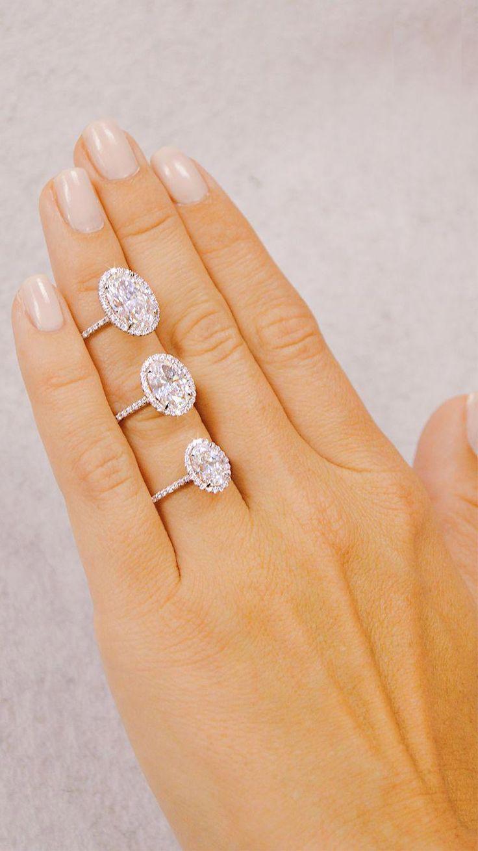Decisiones, decisiones … El perfecto Oval Halo Delicate Diamond Band Engagement R …   – wedding bells