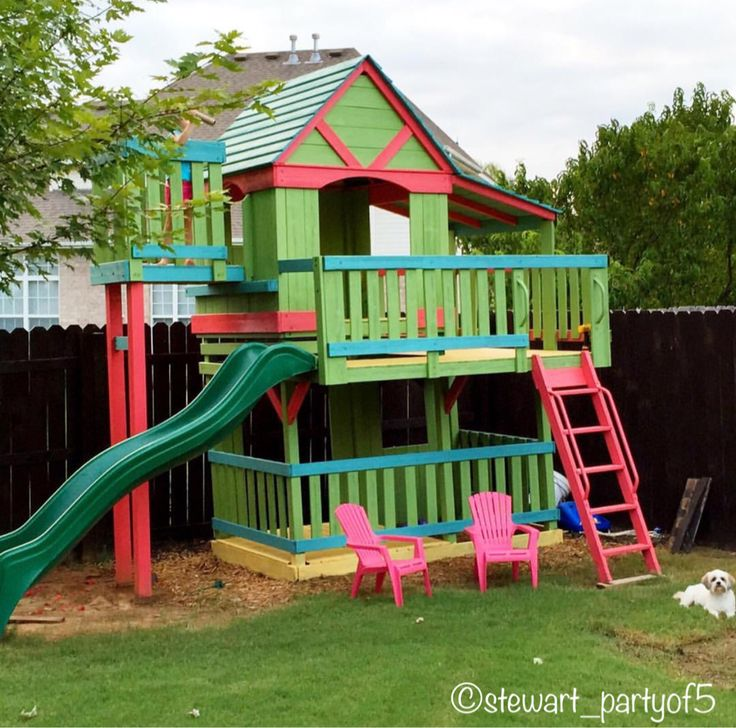 Painted swingset Painted playhouse