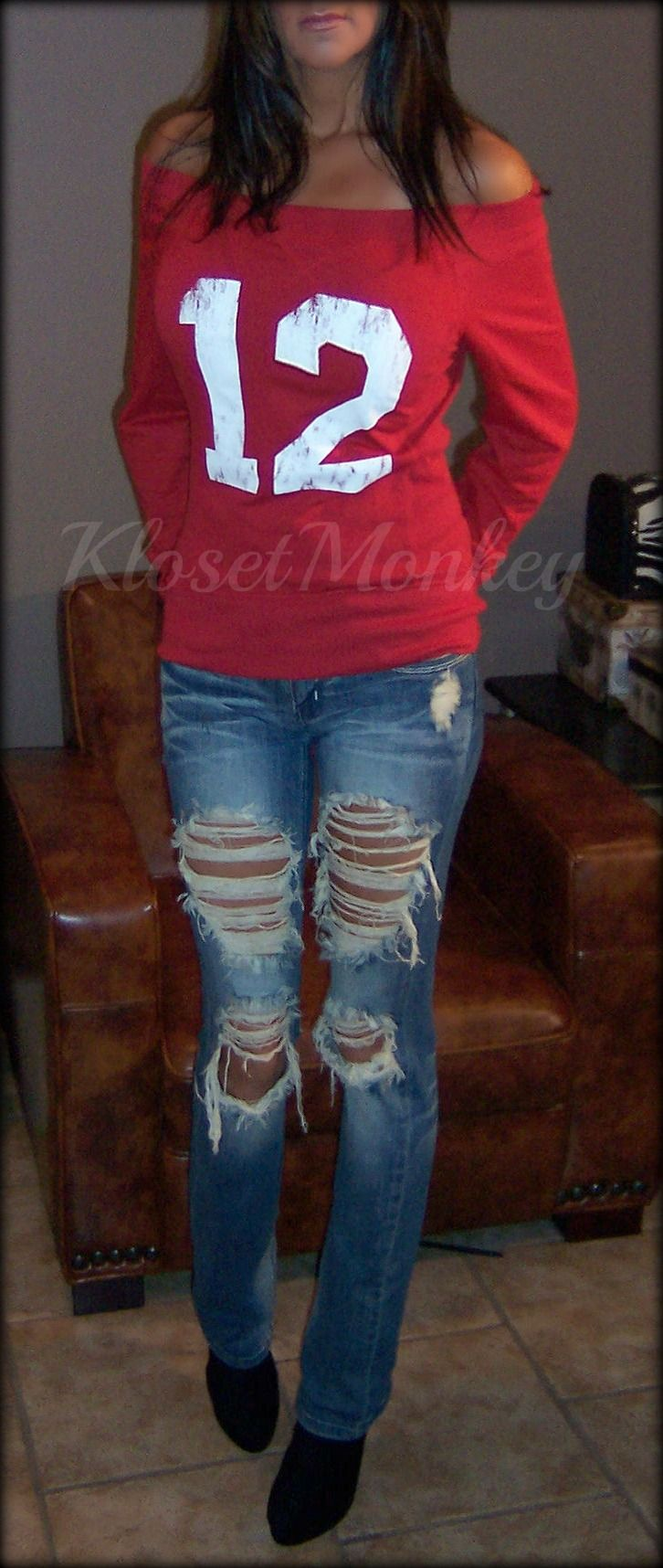 Cute Off the shoulder football hoodies in all different colors!  Roll Tide.