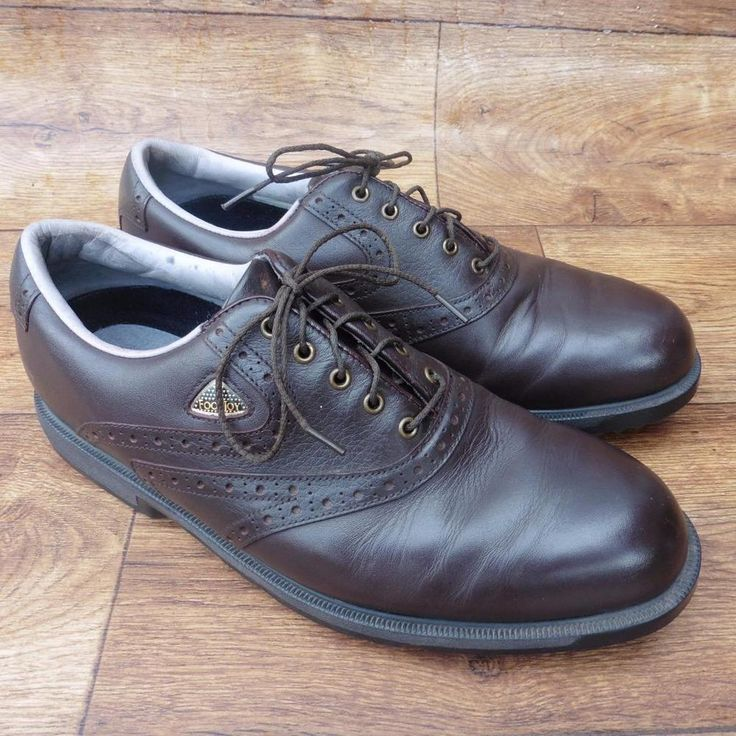 SIZE UK 9 FOOTJOY FIT DOGS MEN'S BROWN LEATHER BROGUE STYLE GOLF SHOES  | eBay