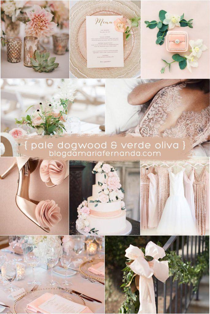 Decoração de Casamento : Paleta de Cores Pale Dogwood e Verde Oliva