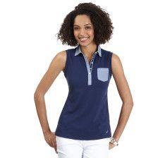 Chambray-Trim Sleeveless Polo Shirt - Naval Blue
