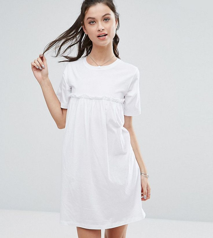 ASOS PETITE Smock Dress with Ruffles - White