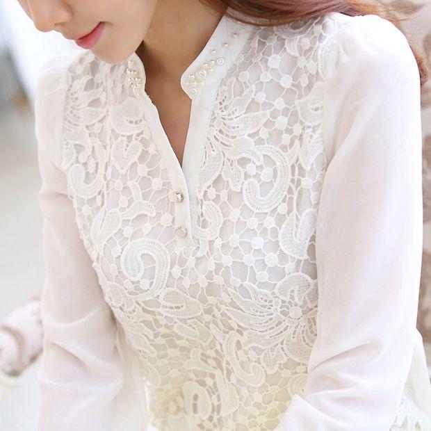 2015 New Arrival coreano Beading Crochet Plus size branco manga comprida Chiffon camisa de renda feminina blusa de renda roupas femininas