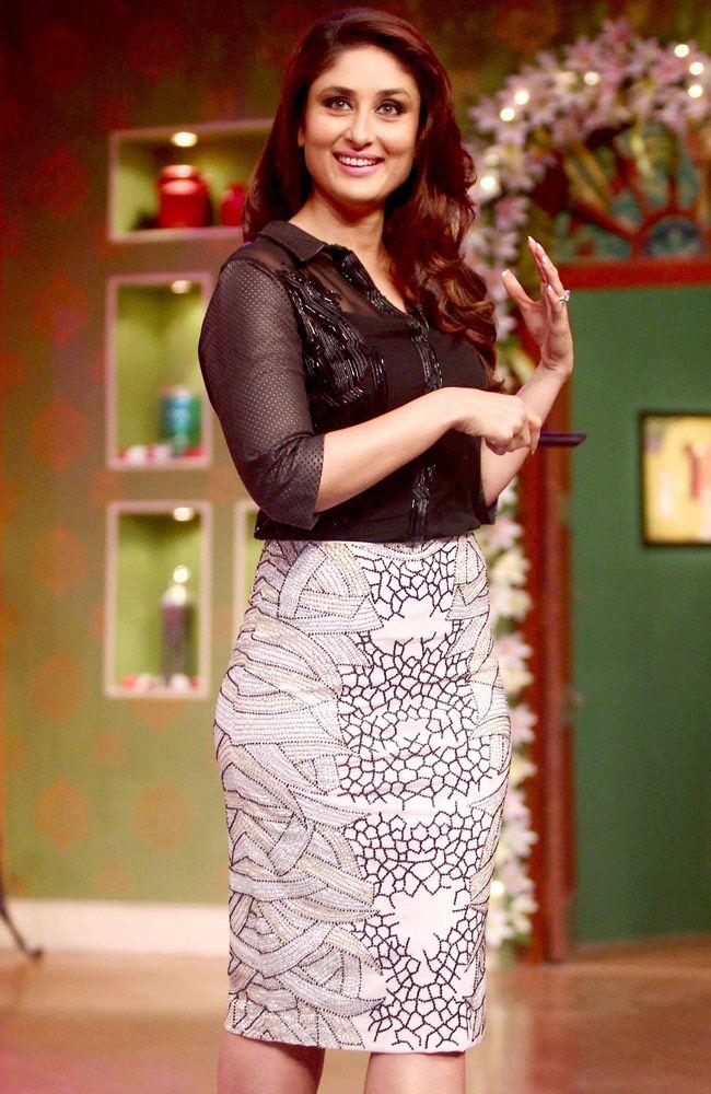 Kareena Kapoor looked radiant in a black Namrata Joshipura top and a Zara Umrigar embellished pencil skirt.
